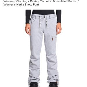 Roxy light grey snow pants